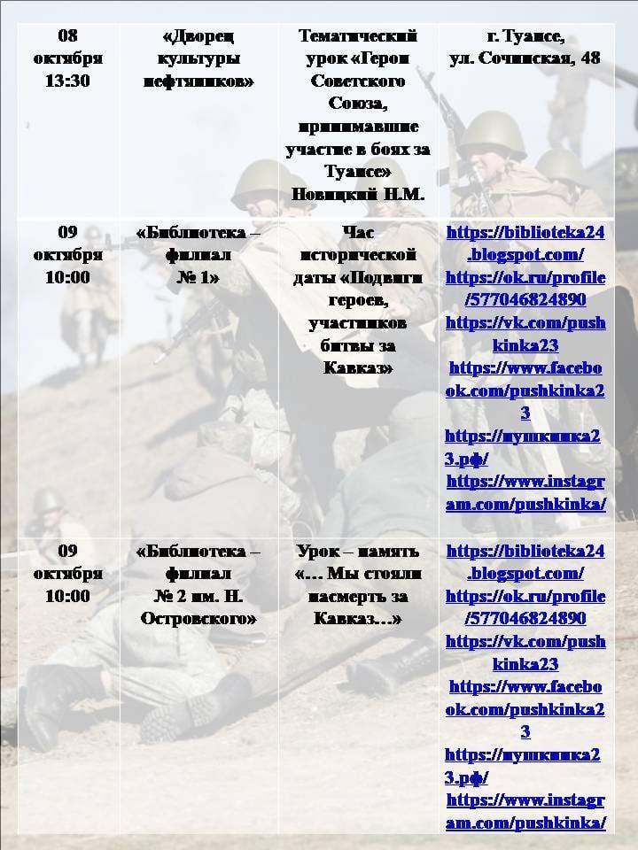 К 78-ой годовщине освобождения Кубани в Туапсе проходят мероприятия